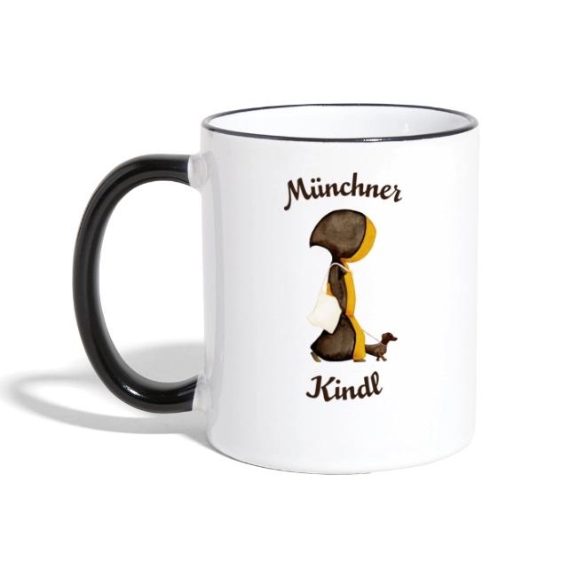 Münchner Kindl Tasse mit Dackel und Stofftasche - Keramik