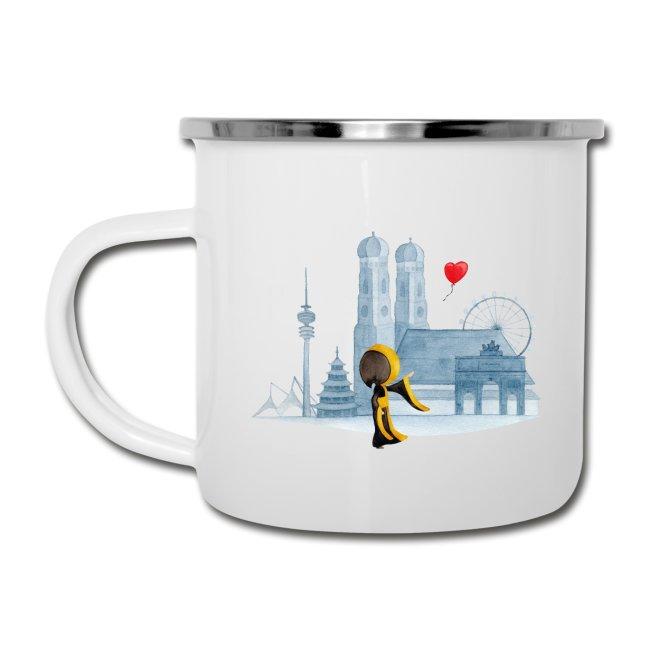 Münchner Kindl Tasse aus Emaille - München Skyline mit Herz