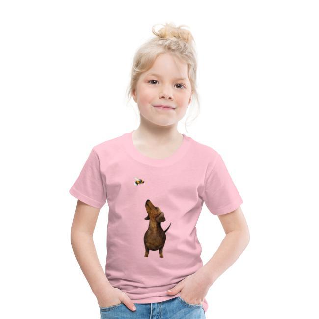 Münchner Kindl Kinder T-Shirt rosa - Dackel mit Hummel