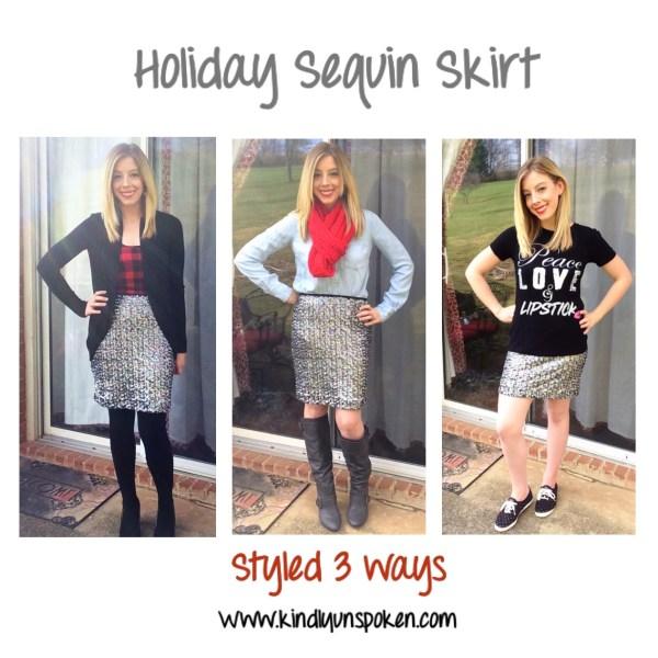 holiday sequin skirt styled three ways