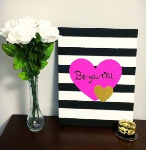 """DIY """"Be-you-tiful"""" Heart Canvas"""