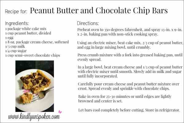 Peanut Butter and Chocolate Chip Bars Printable