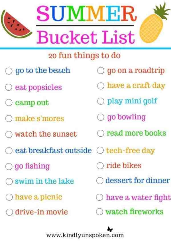 Summer Bucket List- 20 Fun Must-Do Activities