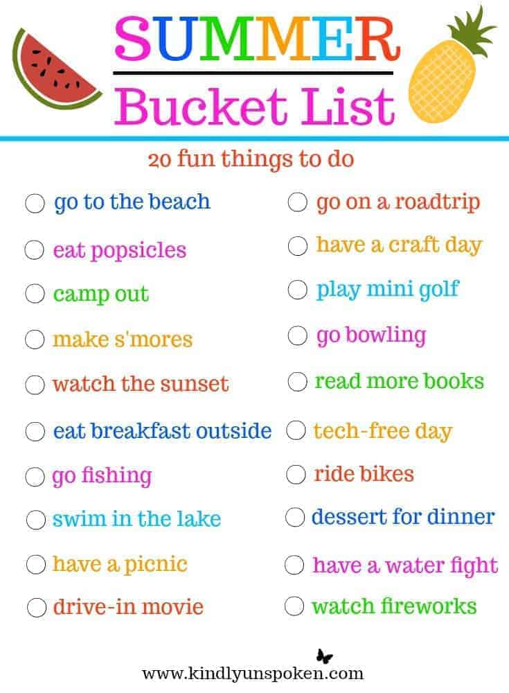 Summer Bucket List- 20 Fun Things to Do This Summer!