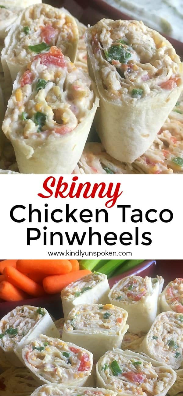 Fall and football season are officially upon us and these Skinny Chicken Taco Pinwheels are the perfect appetizer for any tailgating party! This lighter version of a traditional Mexican tortilla roll-up features light cream cheese, shredded chicken, taco seasoning, and flavorful veggies that are great for snacking on! #pinwheels #rollups #appetizer #tailgatingfood