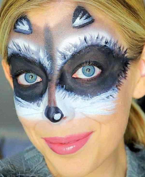 Cute and Easy Raccoon Mask Halloween Makeup Tutorial