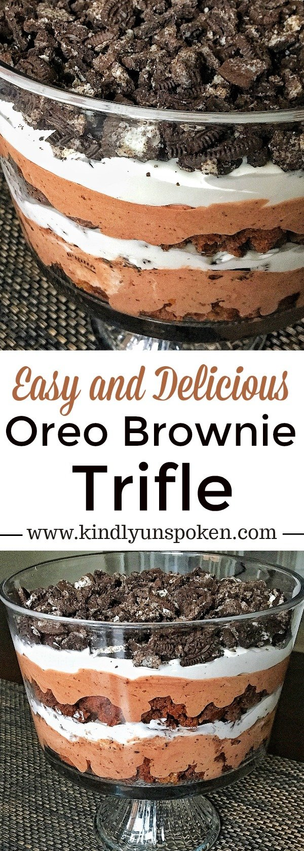 This Easy and Delicious Oreo Brownie Trifle is so easy to whip together and is the perfect layered dessert for entertaining with family and friends. Made with rich layers of brownie pieces, an indulgent chocolate pudding, creamy whipped topping, and yummy Oreo pieces, this brownie trifle is the ultimate chocolate lover's dream dessert! #brownietrifle #chocolatedessert #oreodessert