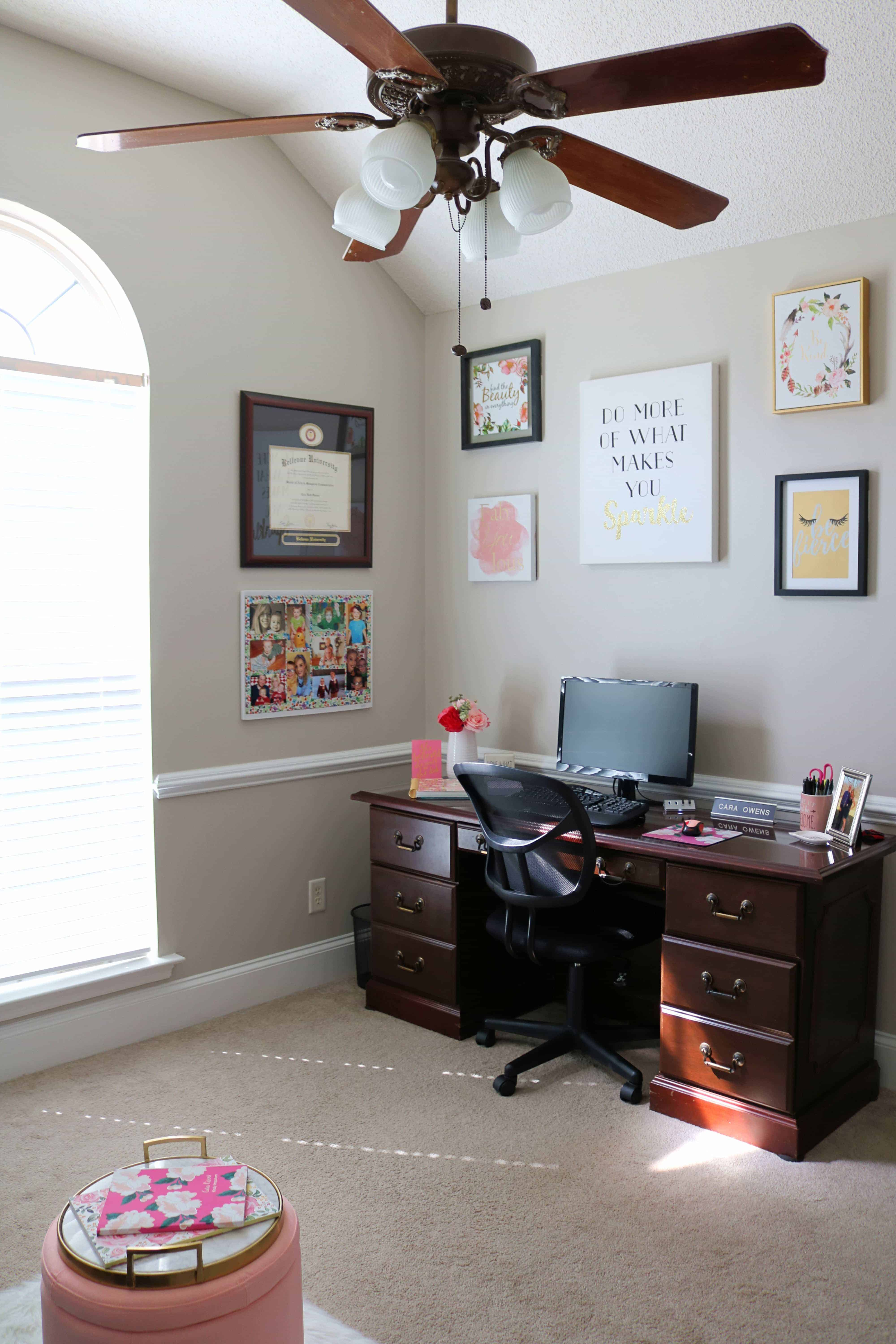 Create your dream home office space with my helpful tips for decorating a home office! Plus, in case you need inspiration check out my home office reveal with the cutest home office decor!