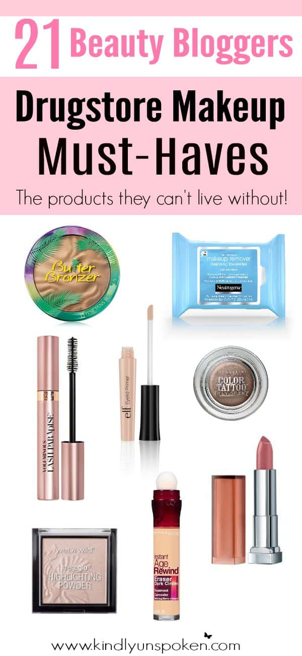 21 Beauty Bloggers reveal the BEST drugstore makeup products in this awesome roundup of affordable beauty products! Check out which drugstore makeup products they can't live without! #drugstoremakeup #affordablemakeup