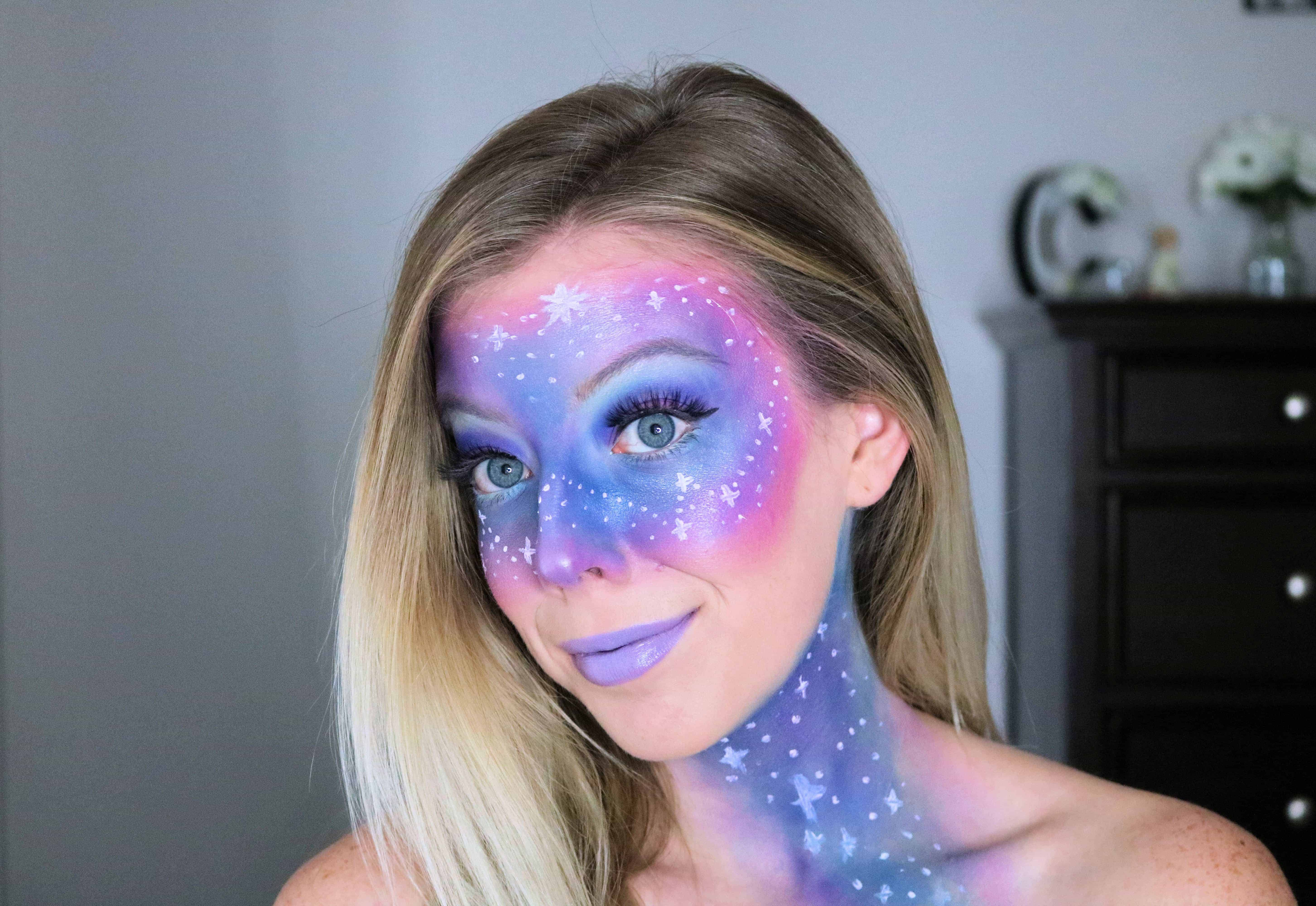 Ready to rock out your inner galaxy space princess for Halloween? Then check out my easy galaxy makeup tutorial that's super pretty and uses everyday makeup products! #galaxymakeup #halloweenmakeup #halloween #makeuptutorial