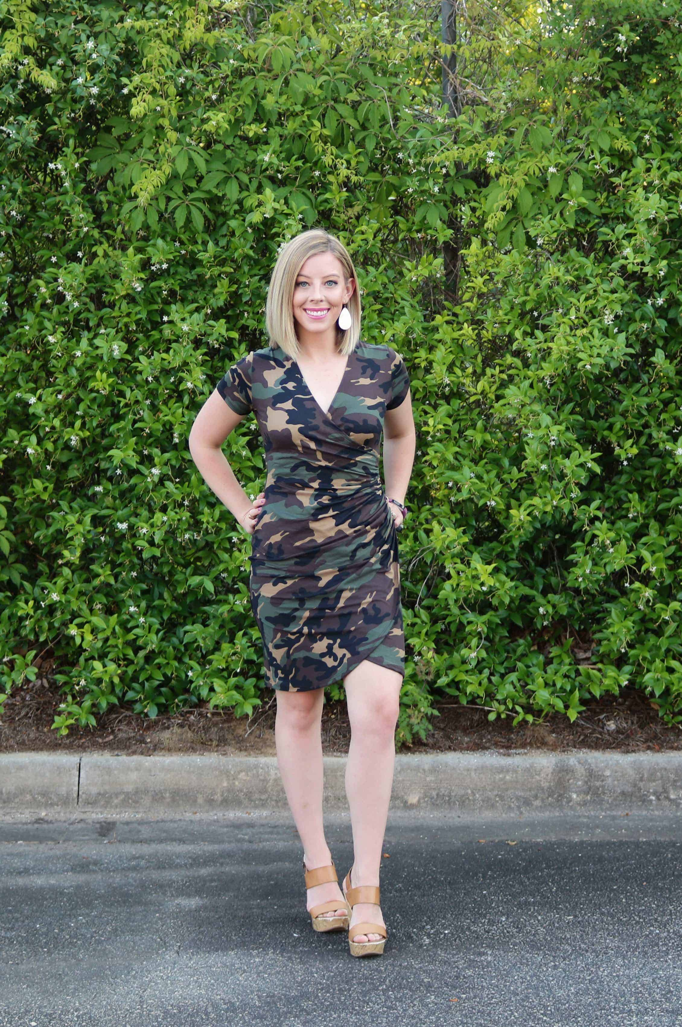 Looking for the latest fashion trends like this camo wrap dress? Check out my roundup of Summer 2019 Fashion Trends to Wear including cute and affordable outfit ideas you can find at your local Bealls Outlet! #ad #beallsoutlet #summerfashion #springfashion #cuteoutfits