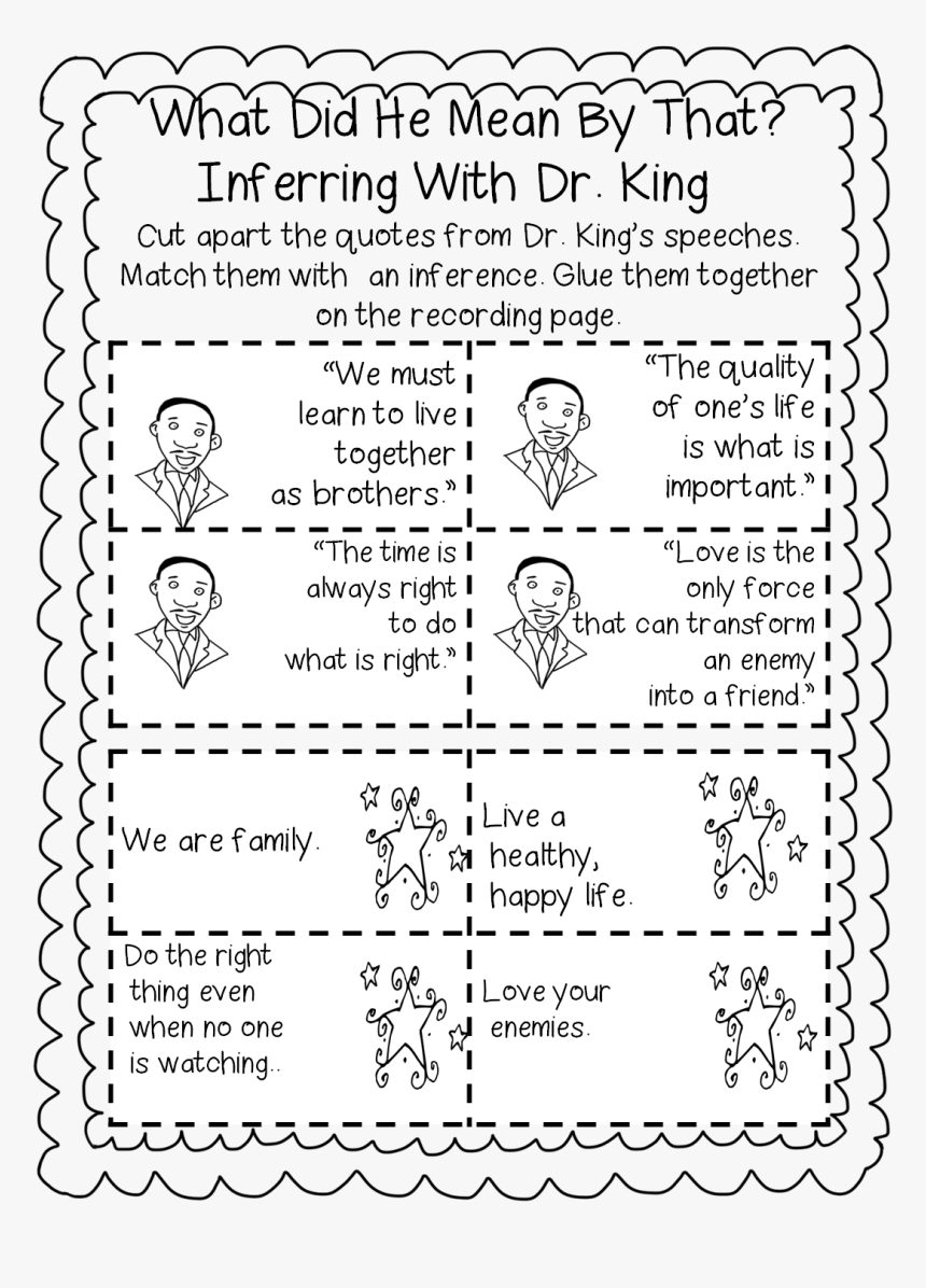 hight resolution of Mlk First Grade Worksheet