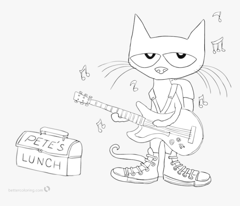 pete the cat clipart black and white transparent png