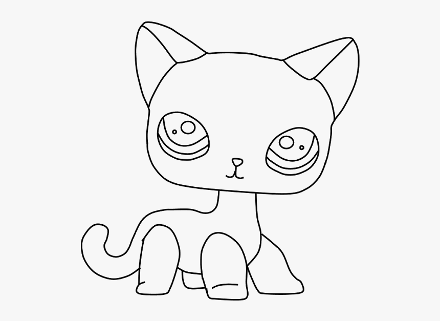 Lps Shorthair Cat Coloring Pages Lps Shorthair Cat Outline Hd Png Download Kindpng
