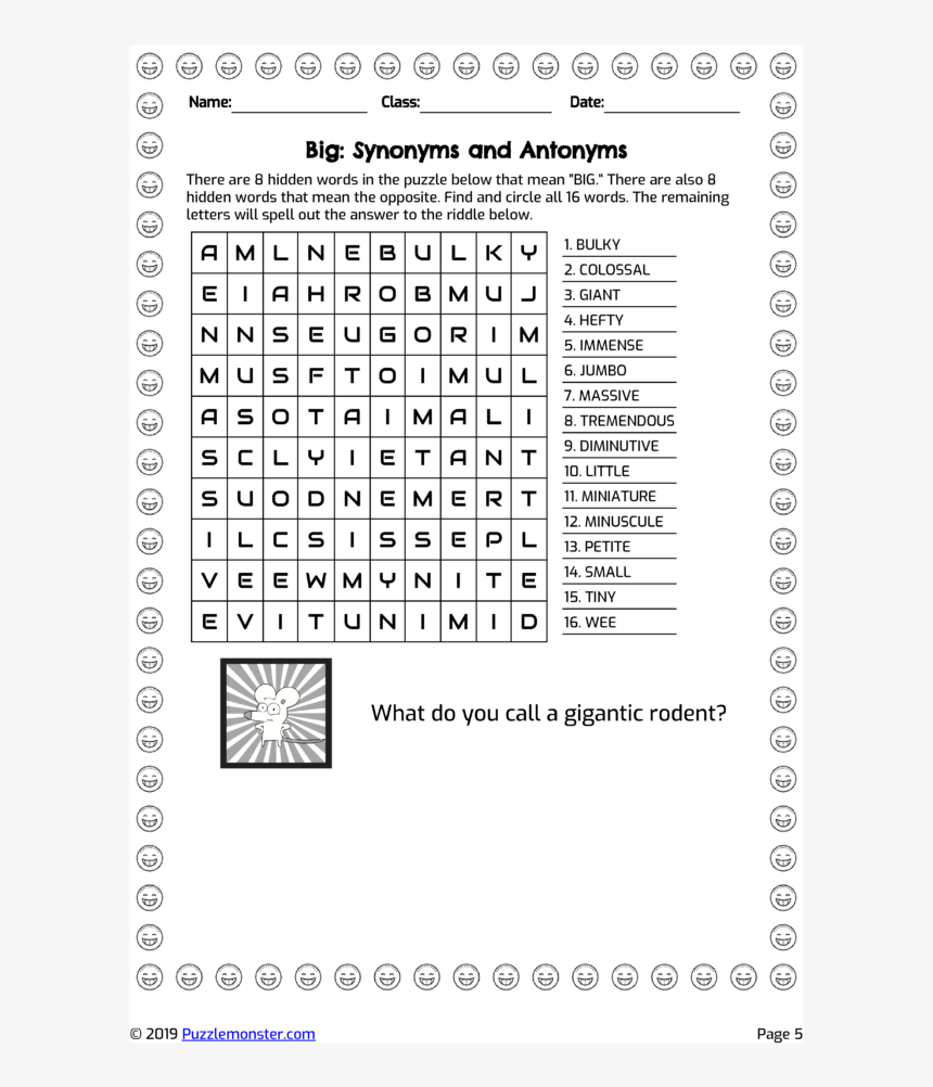 medium resolution of Word Search - Diminutive Worksheets Grade 5