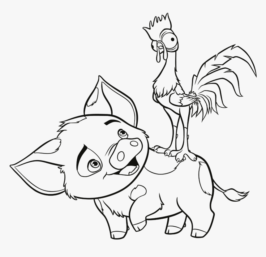 Coloring Book Pages Kids Fun Art Coloring Videos Moana Coloring Pages Hei Hei Hd Png Download Kindpng