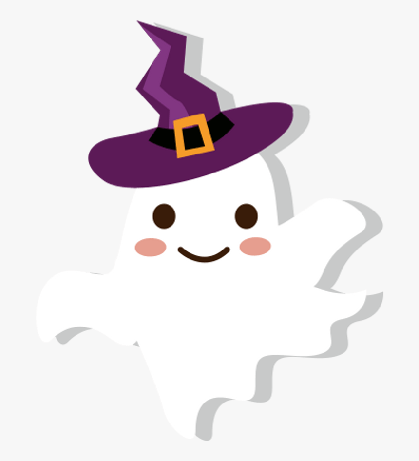 Ghost Witch Wizard Hat Cute Cartoon Halloween Trickortr Ghost In Witch Hat Clipart Hd Png Download Kindpng