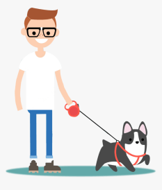 Walking Dog Cartoon Png , Png Download - Dog Walker Png, Transparent Png - kindpng