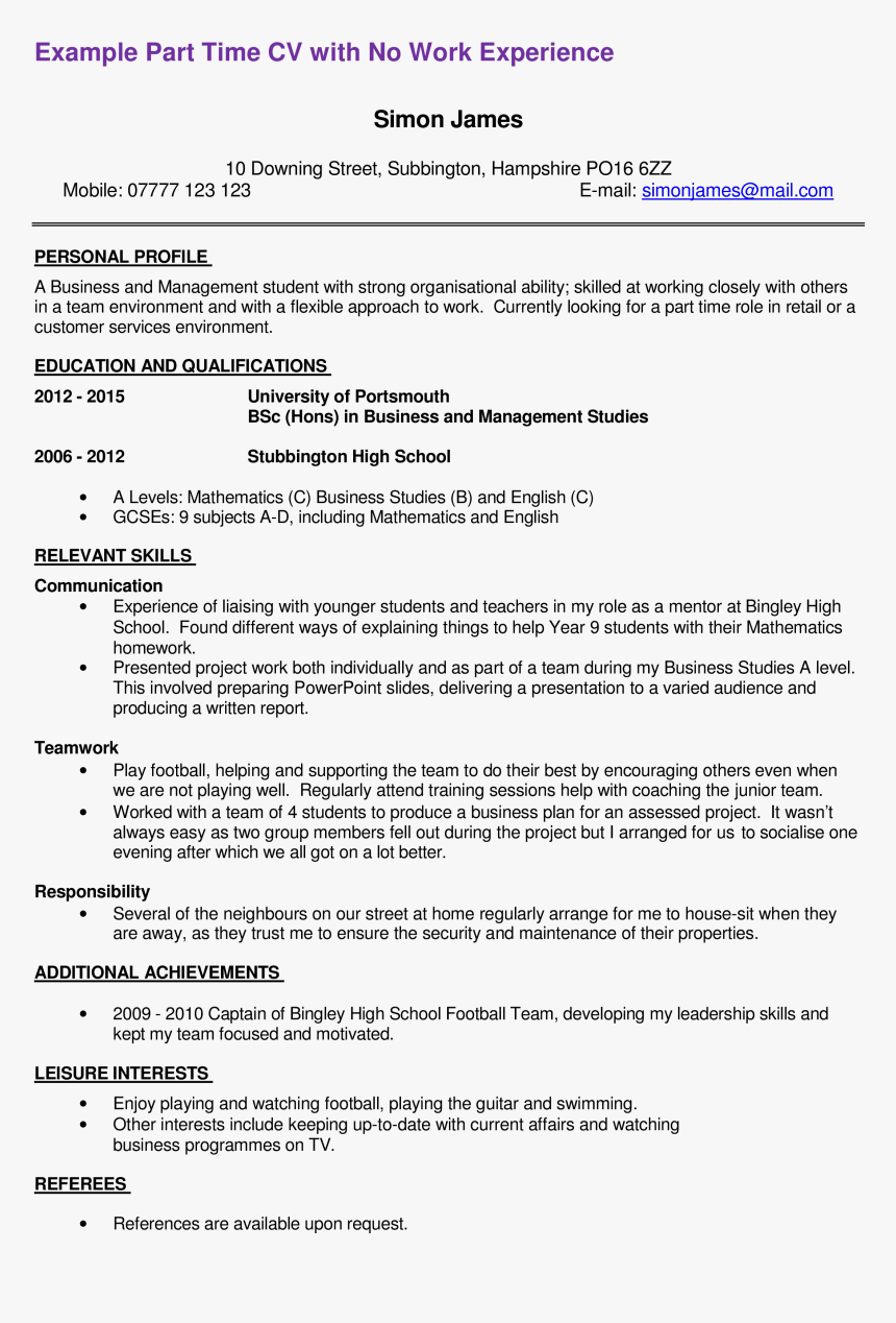 Free resume examples for part time work essay scientific progress