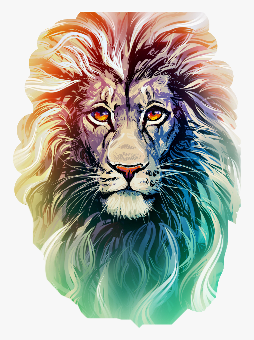 Transparent Lion Head Roar Png Colour Pencil Art Face Png Download Kindpng