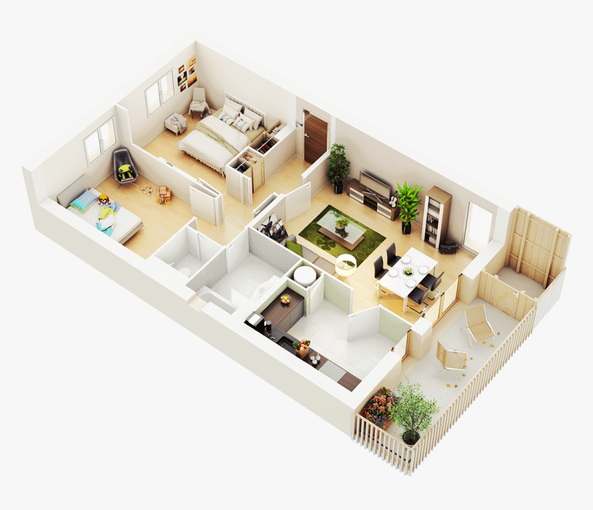2 Bedroom House Plans 3d Hd Png Download Kindpng