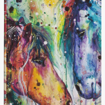 Two Horses Colorful Watercolor Painting Hardcover Journals Colourful Horses Abstract Painting Hd Png Download Kindpng