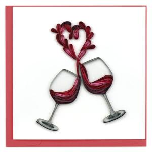 CARD QUILLING WINE HEART