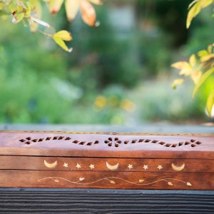 WOODEN INCENSE HOLDER W/DOUBLE COMPARTMENT