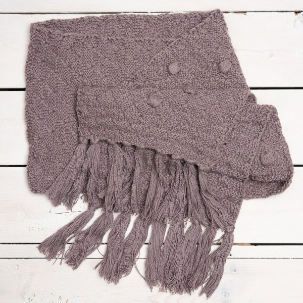 WOOL KNIT SCARF WITH FRINGE