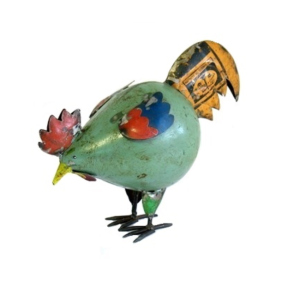 RECYCLED METAL HEN GREEN PECKING