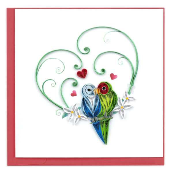 CARD QUILLING LOVE BIRDS HEART