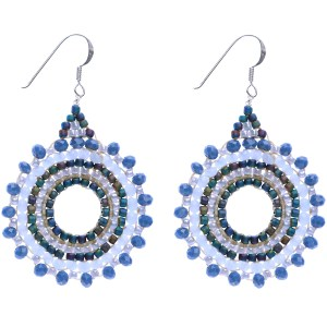 Beaded Starburst Earrings – Blue