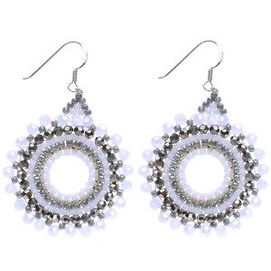 Beaded Starburst Earrings – White