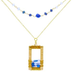 Brass Window Necklace – Blue