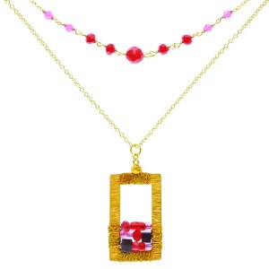 Brass Window Necklace – Red