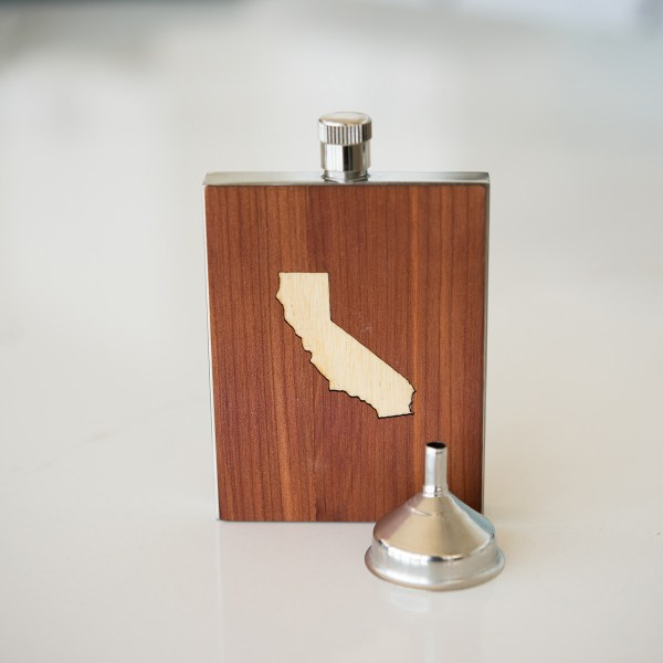 3oz WOOD FLASK WITH CALIFORNIA INLAY