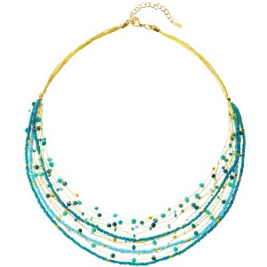 Layered Beaded Necklace – Turquoise