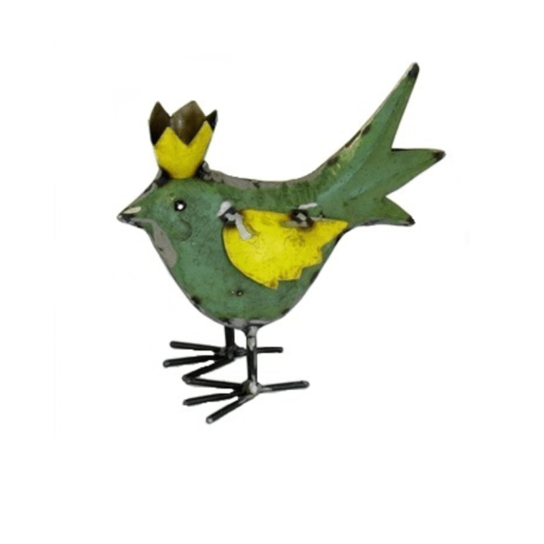 RECYCLED METAL BIRD GREEN WITH CROWN
