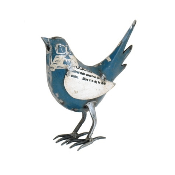 RECYCLED METAL BIRD BLUE