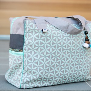 DIAPER BAG GEOMETRIC FLOWER – Light Teal