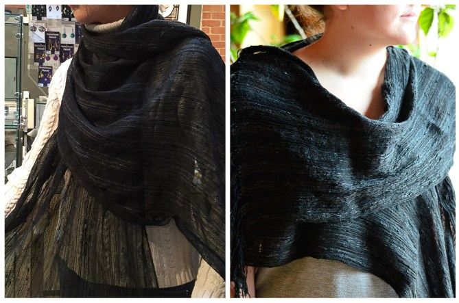 black collapse weave shawl before and after