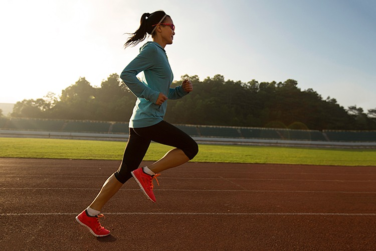 Lactate Threshold Testing Female Runner on Track