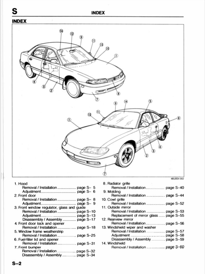 1942 Page Work Shop Manual 1992-1994 Mx6/626