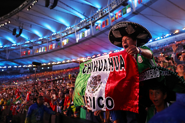 A Mexican fan enjoys the atmosphere during the Opening Ceremony of the Rio 2016 Olympic Games at Maracana Stadium on August 5, 2016 in Rio de Janeiro, Brazil. (Photo by Ezra Shaw/Getty Images)