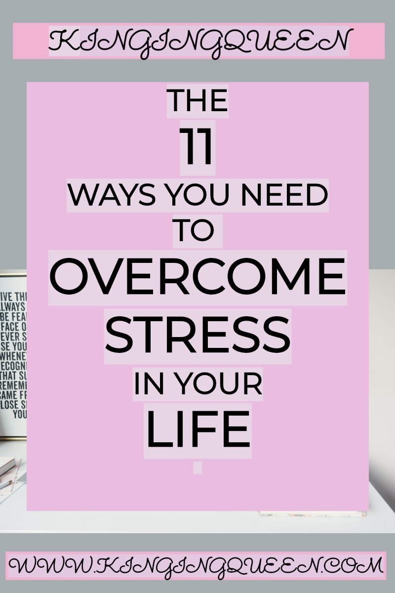 graphic showing 11 ways to overcome stress