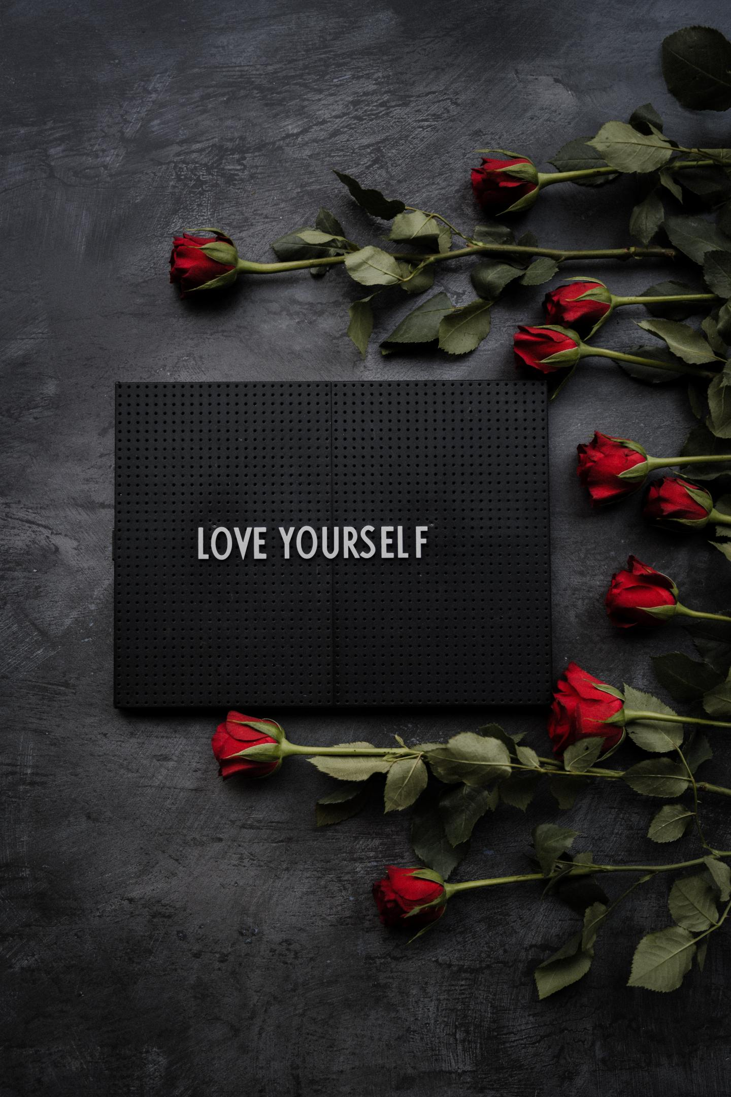 Graphic on a bed of red roses showing LOVE YOURSELF self love affirmation