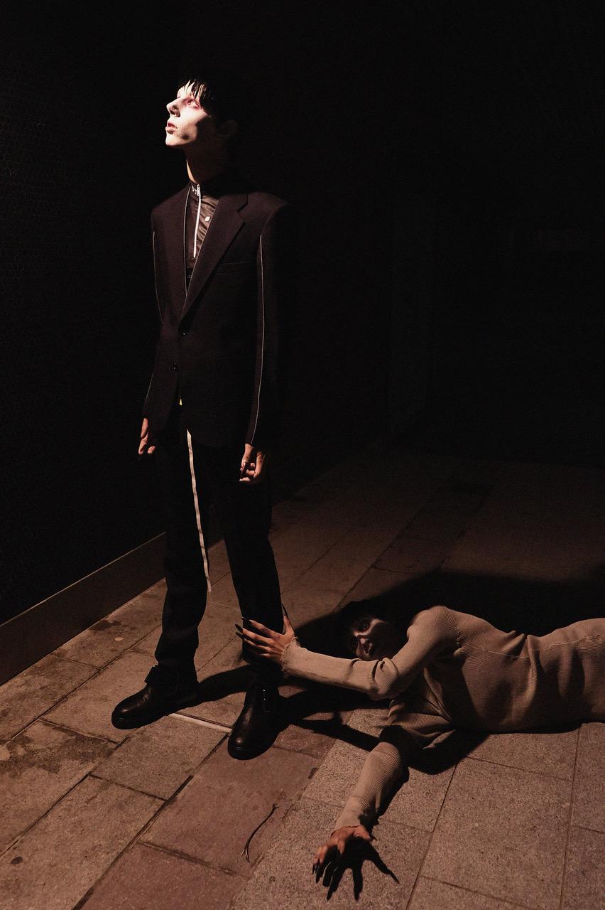 (left) Suit, top and boots - MAISON MARGIELA | (right) Top - MAISON MARGIELA | Underwear - ACNE STUDIOS