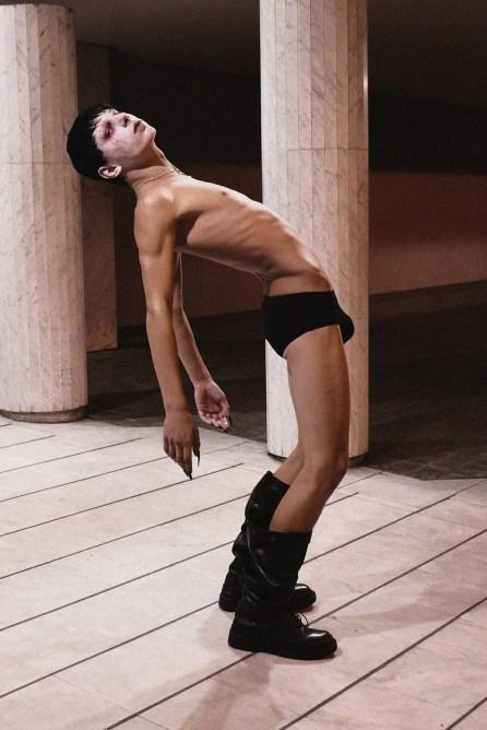 Underwear - ACNE STUDIOS   Boots - RICK OWENS