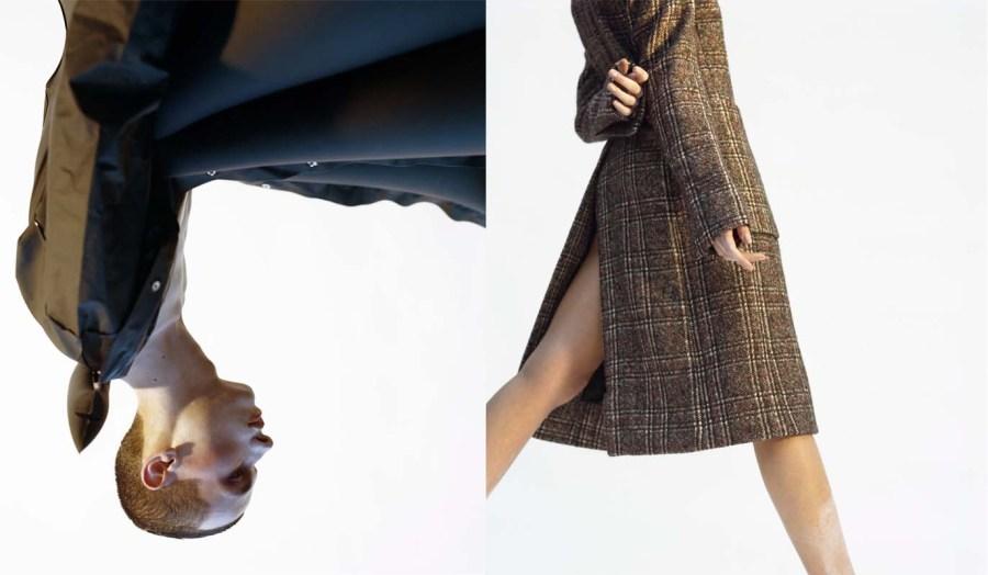 (left) Inflatable Plastic Jacket - Michiko Koshino (right) Tweed Coat - Alexandre Arsenault