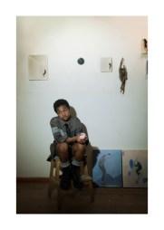 "Art works: ""BELVEDERE"", ""PENSATOIO"", 2010   Shirt - Hosio   Black tie - Cor Sine Labe Doli   Wool socks - Yellow Button   Black boots - Dr Martens"